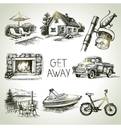 Hand drawn sketch set of family vacation vector