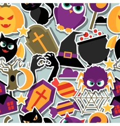 Happy halloween seamless pattern with flat sticker vector
