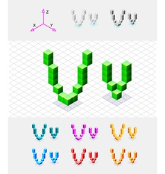 Isometric font from the cubes Letter V vector image