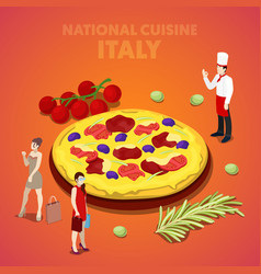 isometric italy national cuisine with pizza vector image