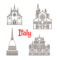 italian architecture italy landmarks icons vector image