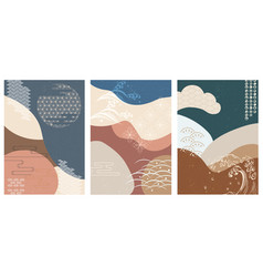 japanese background hand drawn wave elements vector image