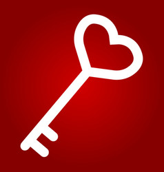 key with heart shape glyph icon valentines day vector image