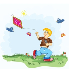 Kid with a kite vector