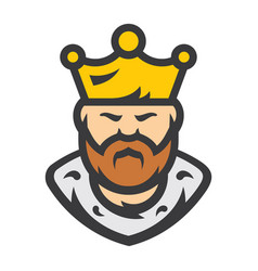 king bearded man cartoon vector image