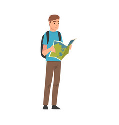 male tourist with backpack holding road map vector image