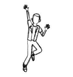 man happy jumping cartoon vector image