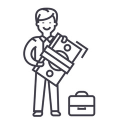 Man with big money and suitcase line icon vector