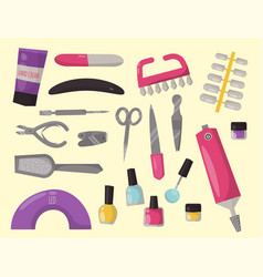 manicure instruments hygiene hand care pedicure vector image