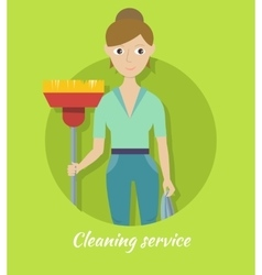 Member of Cleaning Service with Broom and Duster vector image
