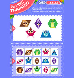 memory game children shapes 11 vector image