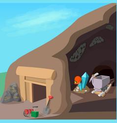 Mining process concept cartoon style vector