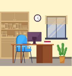 Modern workplace flat design office chair vector