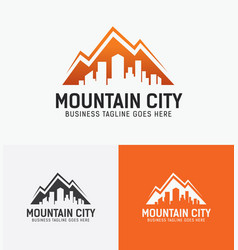 Mountain city logo design vector