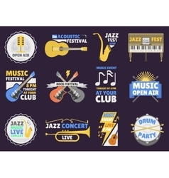 Music festival badge vector