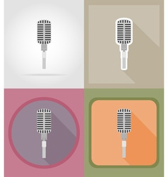 music items and equipment flat icons 01 vector image