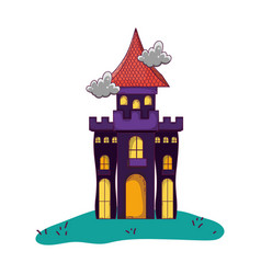 Mystery castle with scary architecture style vector