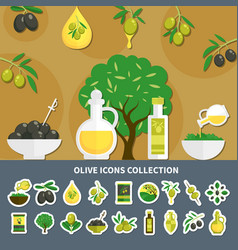 Olives icons collection vector