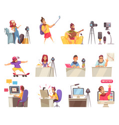 Online vlogger icon set vector