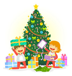 opening christmas presents vector image