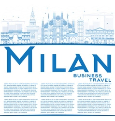 Outline Milan Skyline with Blue Landmarks vector image