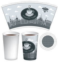 paper cup template with old town and coffee cup vector image