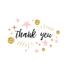 phrase thank you decorated gold polka dot vector image