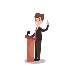 Politician man character standing behind rostrum vector