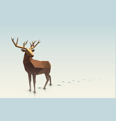 polygonal christmas deer vector image