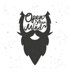 poster with bearded mans head vector image