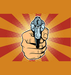 Pound currency money finance revolver in hand vector