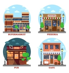 Pub and supermarket pizzeria cafe buildings vector