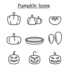 pumpkin icon set in thin line style vector image