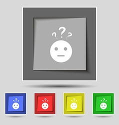 Question mark and man incomprehension icon sign on vector