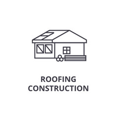 Roofing construction line icon sign vector