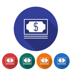 round icon of banknotes pack flat style with long vector image