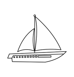 Sailing yacht icon outline style vector