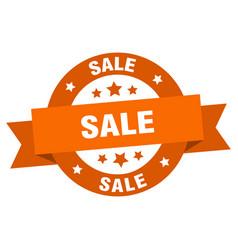 sale ribbon sale round orange sign sale vector image