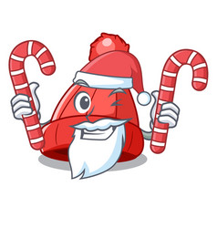 Santa with candy beanie hat isolated on the mascot vector
