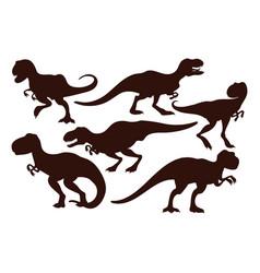 scary dinosaurs tyrannosaurus black vector image