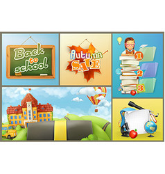 School education and schoolchildren set of vector