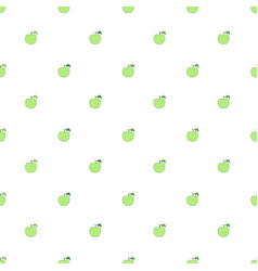 Seamless pattern with cartoon green apples vector