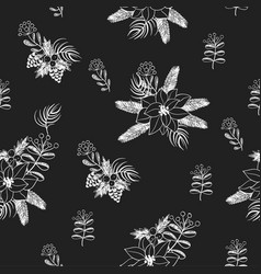 Seamless pattern with christmas flowers vector