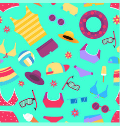 seamless summer pattern with beach objects vector image
