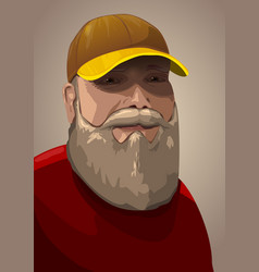 senior male portrait with a hut vector image