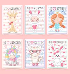 set animals - crtoon a4 template vector image