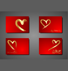 set golden hearts hand drawn brush stroke vector image