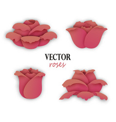 set of four paper beige pink roses vector image