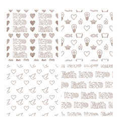 Set of hand drawn christian patterns vector