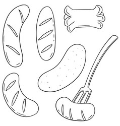 Set of sausages vector